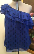 APT.9 Off One Shoulder Semi Sheer Womens Top Size XL Blue & Black New