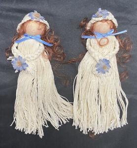 Set Of 2 Vintage Handmade Yarn Girl Wood Head Bonnets And Blue Flowers Figures
