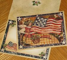 Susan Winget Art - Glorious Angel flag - 1999 Lang Old Glory Christmas Card 5ct