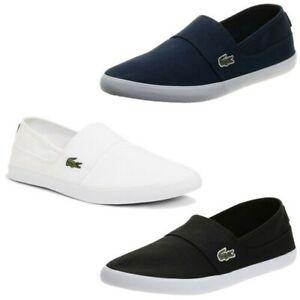 Mens Lacoste Marice Slip On Canvas Shoes Casual Comfortable Plimsolls Pumps