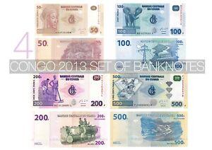 CONGO UNC SET OF 4 BANKNOTES KONGO UNZ | 50 - 500 FRANCS | LE GRAND MINT-SHOP
