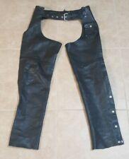 "American Iron Horse Black Leather Motorcycle Biker Chaps Sz. 30""-34"" Adjustable"