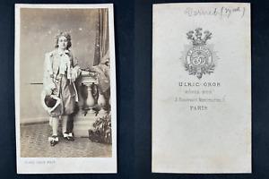 Grob, Paris, Georgette Vernet, danseuse et violoniste Vintage cdv albumen print.