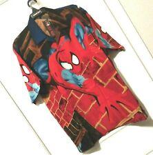 New listing Spider Man Short Sleeve Button Shirt Men Sz L City Brick Polyester Style MW-57
