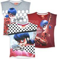 Miraculous LadyBug Girls Short Sleeve Tops T Shirt Clothes 100% Cotton 3-8 Yrs