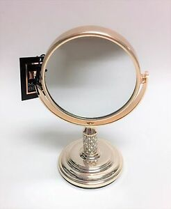 MB PALE ROSE GOLD,CRYSTALS,SMALL VANITY,BATHROOM MIRROR STAND 4X MAGNIFICATION