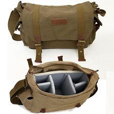 Canvas DSLR Camera Shoulder Bag Messenger Bag Padded Insert Daypack Schoolbag N