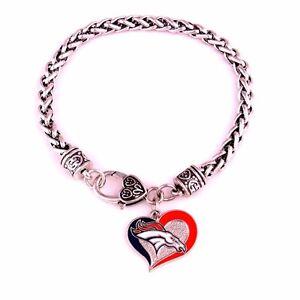 Denver Broncos Football Heart Charm Dangle Women's Fashion Clasp Bracelet