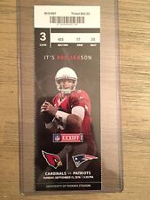 2016 Arizona Cardinals vs New England Patriots Official NFL Ticket Stub 9/11/16