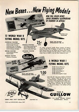 1957 PAPER AD Guillow Toy Model Airplanes WWII Flying Models Balsa Wood