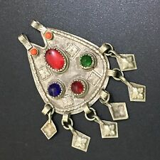 OLD AFGHAN JEWELRY 925 AFGHAN SILVER PLATED MULTI GEM STONE PENDANT CH658