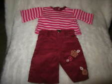 Osh Kosh Doll Clothes 15'' Doll Cordurory Pants Striped Shirt Maroon
