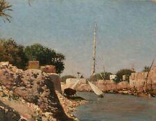 tableau orientaliste huile orientalisme paysage Égypte Turquie felouques marine