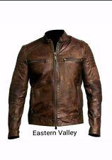 New Mens Classic Motorcycle Racing Biker 100% Cowhide Leather Jacket Custom Made
