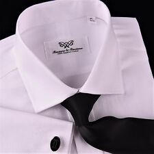 White Twill Formal Dress Shirt Egyptian Cotton Formal Business Sexy Luxury Weave