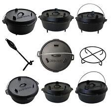 Big BBQ Dutch Oven Gusseisen Topf mit Deckelheber Set - Premium Gusstopf Bräter