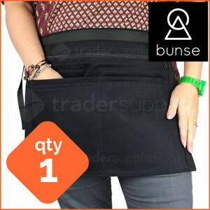 1 x BUNSE 6 Pocket Black Denim Market Trader Money Bag Cash Belt Pocket Pouch