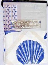 Sea Shells Diamond Fabric Bath Shower Curtain and Roller Hooks Nautical Blue