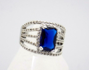 Ladies Sterling Silver Cocktail Party Ring Blue Sapphire 6 Ct &125 CZs