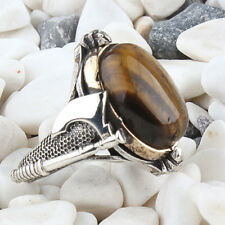 Handmade pure 925 SILVER Tiger's eye rings for Men all sizes wedding RRP £40