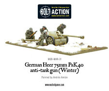 Alemán Heer 75 mm Pak 40 ATG (invierno) - Warlord Games Blister-enviado 1ST Clase
