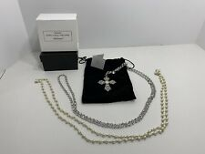 "HSN Real Collectibles by Adrienne Silver Tone Cross with 2 24"" Chains, NEW!"