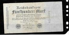 GERMANY GERMAN #74b 1922 500 MARK VG USED OLD BANKNOTE NOTE PAPER MONEY