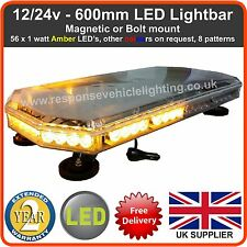 12/24v 600mm LED Lightbar Magnetic or Bolt, Flashing Beacon Truck Recovery Light