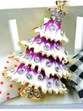 Betsey Johnson Necklace CHRISTMAS TREE Purple WHITE SNOW Gold Crystals