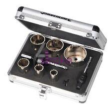 11Pce Diamond Grit Holesaw Kit 19 mm - 57 mm montato in Alluminio Custodia
