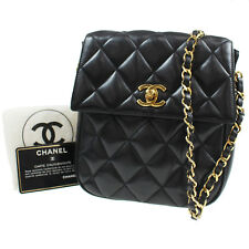 Chanel Matelasse Catena Borsa a Spalla Nero pelle Italia Vintage Auth #K603 M