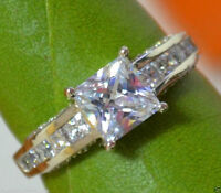 2.06ct Princess Cut Channel Diamond Engagement Ring Solid 14k White Gold