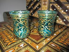 rare vintage  Hand Blown Drinking 2  Glasses green/gold syrian