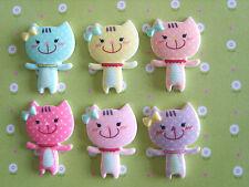6 X Mignon Smiley Kitty Cat Flatback de résine, Embellissement, artisanat, cabochon * UK *