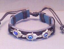 HAMSA Evil ALL-SEEING EYE Bracelet BUDDHA Leather Cuff Silver Tone BLACK