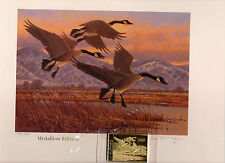 Utah #4 1989 State Duck Stamp Print Canada Geese Medallion Ed by Jim Morgan