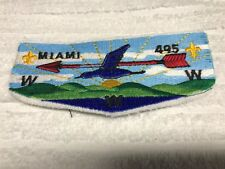 BSA OA MIAMI LODGE 495 S10 Order Flap Patch EARLY PRDUCTION NO BORDER FLAWED NEW
