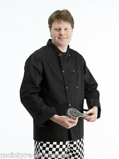More details for black chef jackets full long sleeve chef coat jacket with stud press. free deliv