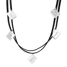 Brand New ROSATO Black Leather & .925 Sterling Silver Choker Necklace Made Italy