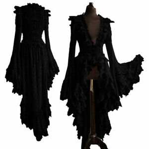 Gothic Long Lolita Dress Plus Size Sexy Lace Medieval Dress Halloween Goth Skirt
