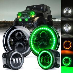 "7"" Inch 90W LED Headlight & Fog Light Kit w/ Green Halo DRL for Jeep Wrangler JK"