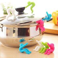 2X Mini Men Unique Silicone Spoon Rest Pot Clip Anti-overflow Gadget Kitchen Kit