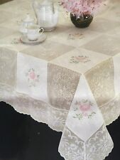 embroidered lace tablecloth square white/apricot 90x90cm poly cotton