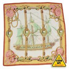HERMES Tribord Silk Scarf Vintage 1968 Bonwit Teller Julia Abadie Ship (blemish)