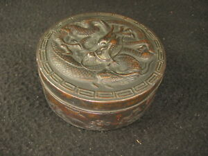 ANTIQUE JAPANESE DRAGON LIDDED JEWELRY CONTAINER BIRD OVER WAVES