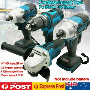 Cordless Impact Wrench Driver Drill Grinder Combo Kit For Makita 18V Battery