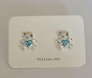 925 Sterling Silver Blue Crystal Bear Stud Earrings - Childrens Girls