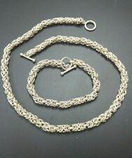 Vintage Byzantine Chain Necklace Bracelet Set Mexico Taxco 104 gr HEAVY