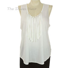 JENNIFER LOPEZ Women's X-LARGE Sleeveless WHITE TOP with FRINGE ACCENTS Knit Top