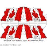 "CANADA Canadian MAPLE Waving Flag Vinyl Bumper Decals, Stickers  2"" (50mm) x4"